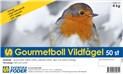 Gourmetboll Vildfågel finns i 10 eller 50 st förpackning. Innehåller bl.a oxtalg