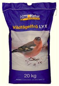 Vildfågelfrö Lyx innehåller 40% solrosfrö, 20% hirs, 20% innerkornshavre, 10% hampa, 10% vete